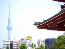 浅草寺から見えるスカイツリー